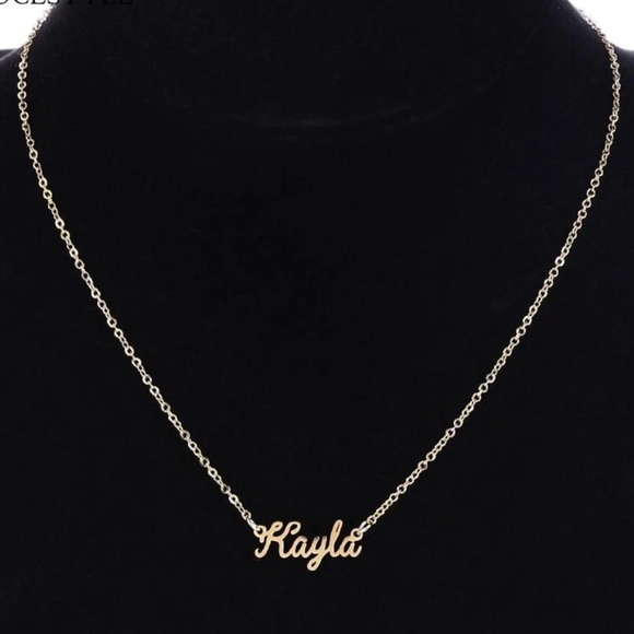 Jewelry - Kayla 14K Gold  Name Name Plate Necklace New